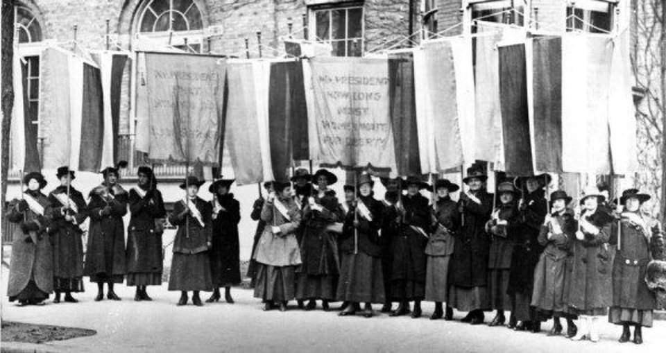Suffragettes march for equal rights during a demonstration in Washington, D.C., in 1917. <strong> - THE ASSOCIATED PRESS</strong>