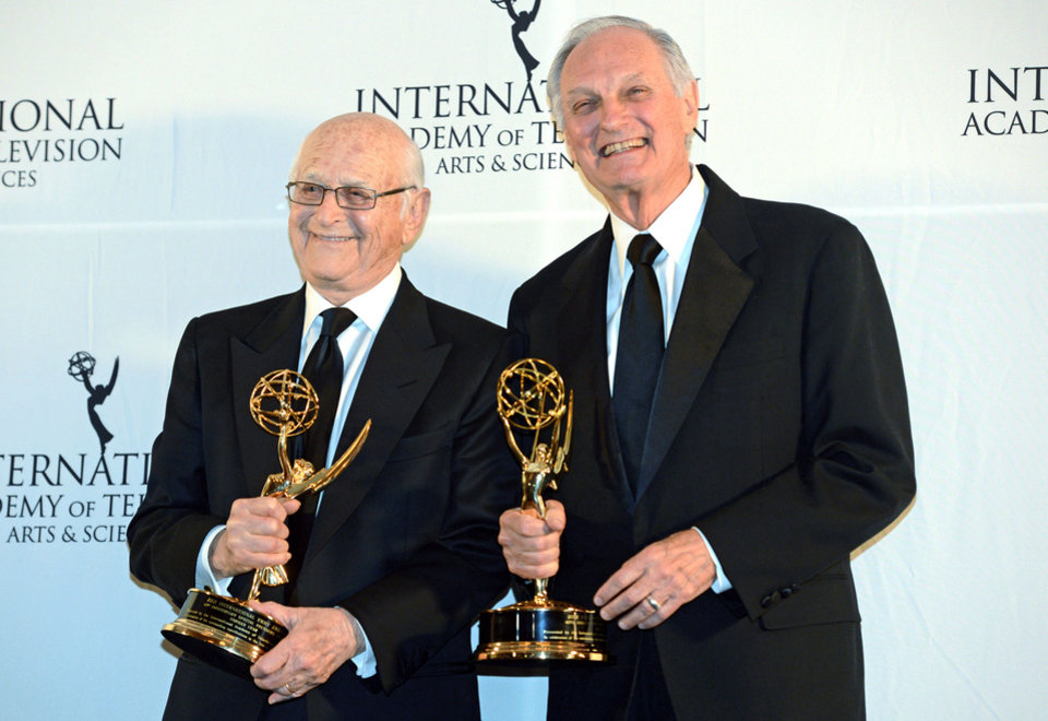 Photo -   Alan Alda, right, and Norman Lear pose for photos after winning Special Founders Awards at the 40th International Emmy Awards, Monday, Nov. 19, 2012 in New York. (AP Photo/Henny Ray Abrams)