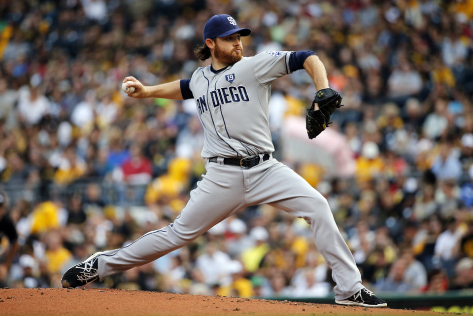 Photo - San Diego Padres starting pitcher Ian Kennedy delivers during the first inning of a baseball game against the Pittsburgh Pirates in Pittsburgh, Friday, Aug. 8, 2014. (AP Photo/Gene J. Puskar)