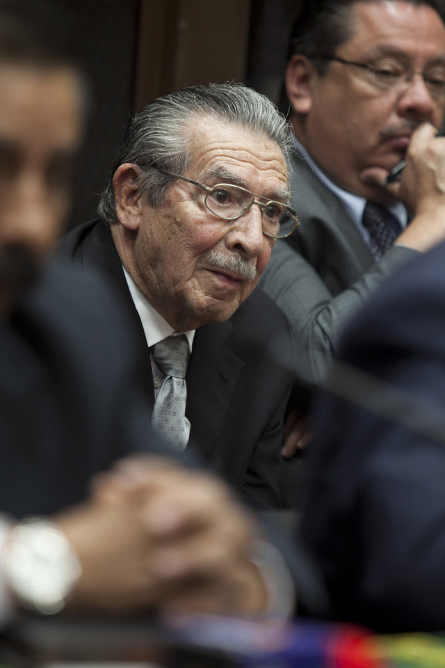 Guatemala's former dictator Jose Efrain Rios Montt (1982-1983) attends a court session to hear the judge's ruling in Guatemala City, Monday, Jan. 28, 2013. A judge has ruled that a former U.S.-backed dictator who presided over one of the bloodiest periods of Guatemala's civil war will stand trial on charges he ordered the murder, torture and displacement of thousands of Mayan Indians. (AP Photo/Moises Castillo)