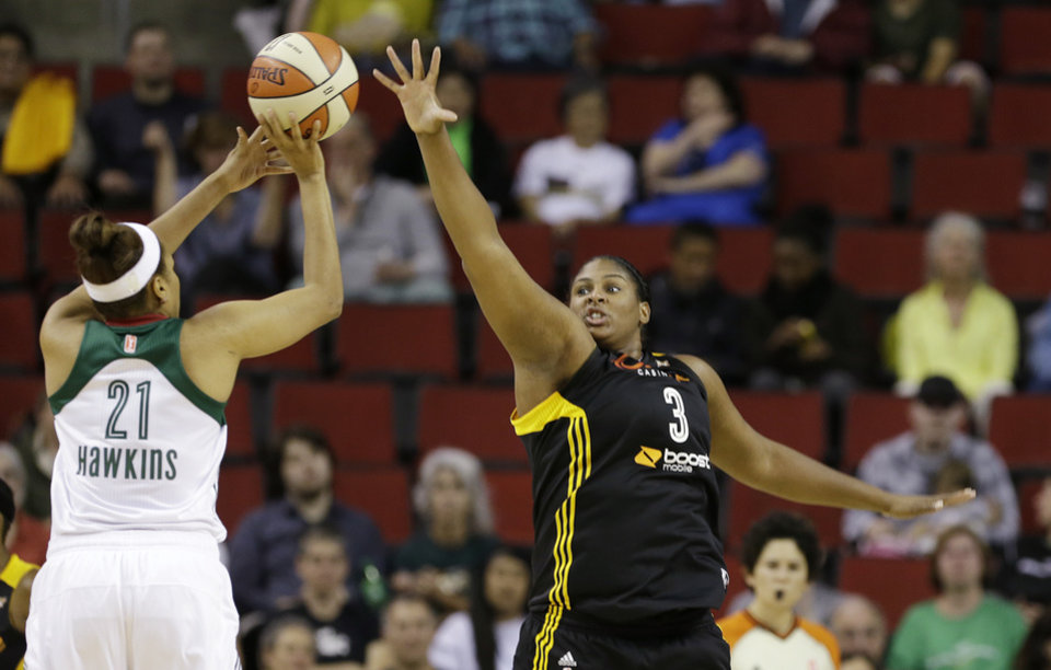 Tulsa Shock\'s Courtney Paris (3) defends against Seattle Storm\'s Tianna Hawkins in the first half of a preseason WNBA basketball game Friday, May 17, 2013, in Seattle. (AP Photo/Elaine Thompson)