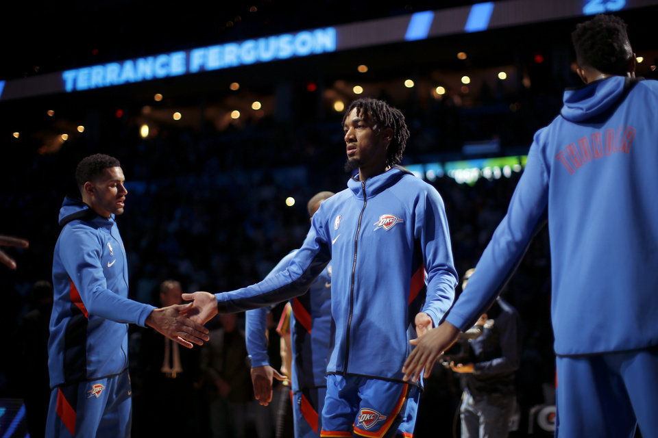 Photo - Oklahoma City's Terrance Ferguson is introduced before an NBA basketball game between the Oklahoma City Thunder and the New Orleans Pelicans at Chesapeake Energy Arena in Oklahoma City, Saturday, Nov. 2, 2019. Oklahoma City won 115-104. [Bryan Terry/The Oklahoman]