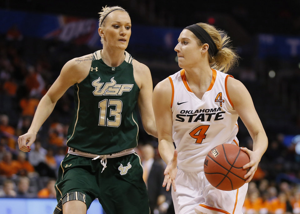 Oklahoma State's Liz Donohoe (4) drives past South Florida's Inga Orekhova (13) during the All-College Classic women's basketball game between Oklahoma State University and South Florida at Chesapeake Energy Arena in Oklahoma City, Okla., Saturday, Dec. 14, 2013. Photo by Bryan Terry, The Oklahoman