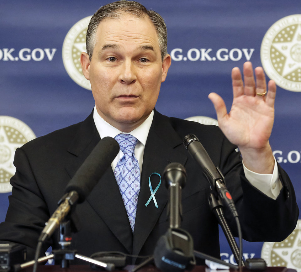 Attorney General Scott Pruitt speaks during a ceremony to promote Sexual Assault Awareness Month at the Attorney General's office on Monday, April 8, 2013, in Oklahoma City, Okla.
