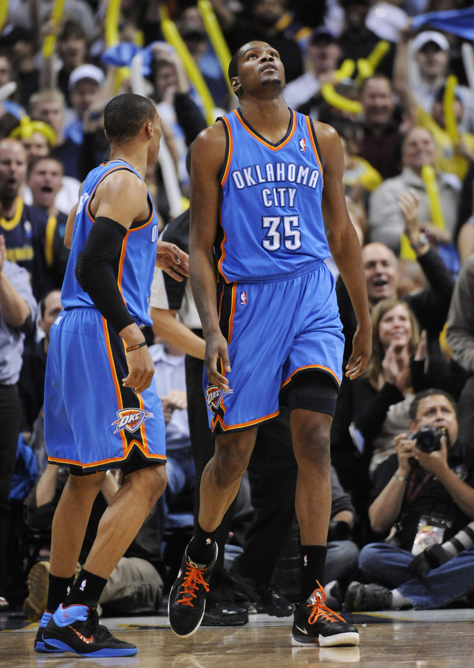 Oklahoma City Thunder forward Kevin Durant (35) reacts during the second half in game 4 of a first-round NBA basketball playoff series against the Denver Nuggets Monday, April 25, 2011, in Denver. Denver beat Oklahoma 104-101. Oklahoma City leads the series 3-1. (AP Photo/Jack Dempsey)
