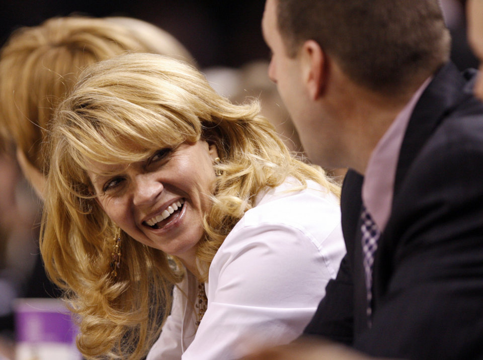Sooner head coach Sherri Coale laughs at the end of her teams 70-59 victory in the NCAA women's basketball tournament game between the University of Oklahoma and Pittsburgh at the Ford Center in Oklahoma City, Okla. on Sunday, March 29, 2009. 