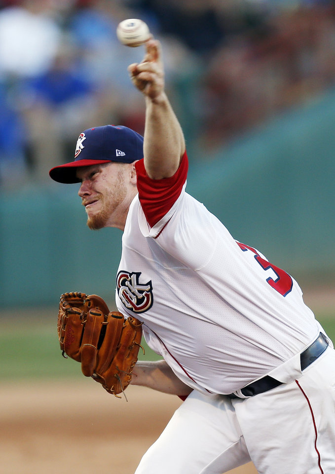 Photo - Brett Oberholtzer (30) pitches for Oklahoma City during a minor league baseball game between the Oklahoma City RedHawks and the Las Vegas 51s at the Chickasaw Bricktown Ballpark in Oklahoma City, Friday, June 13, 2014. Photo by Nate Billings, The Oklahoman