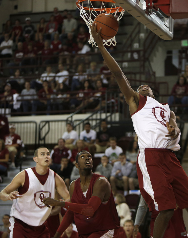 Buddy Hield (3) goes for a layup during a Oklahoma University scrimmage basketball game at McCasland Field House in Norman, Okla., Saturday, Oct. 20, 2012.  Photo by Garett Fisbeck, The Oklahoman