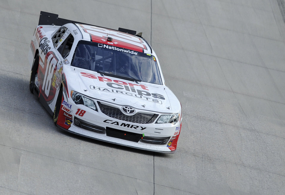 Photo -   Joey Logano (18) drives during the NASCAR Nationwide Series auto race, Saturday, Sept. 29, 2012, at Dover International Speedway in Dover, Del. Logano won the race. (AP Photo/Nick Wass)