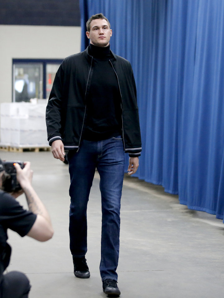 Photo - Oklahoma City's Danilo Gallinari arrives before an NBA basketball game between the Oklahoma City Thunder and Houston Rockets at Chesapeake Energy Arena in Oklahoma City, Thursday, Jan. 9, 2020. [Bryan Terry/The Oklahoman]