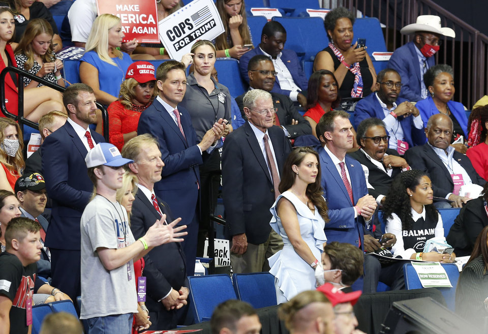 Photo - Oklahoma Politicians attending President Donald Trump speaking at the BOK Center at the first re-election rally in Tulsa, OK, June 20, 2020. STEPHEN PINGRY/Tulsa World