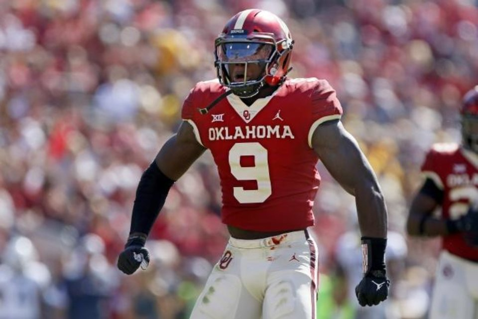 Photo -  Kenneth Murray has turned into a star for Oklahoma's defense, but the reason he plays goes well beyond any accolades he get for what he does on the field. [Bryan Terry/The Oklahoman]