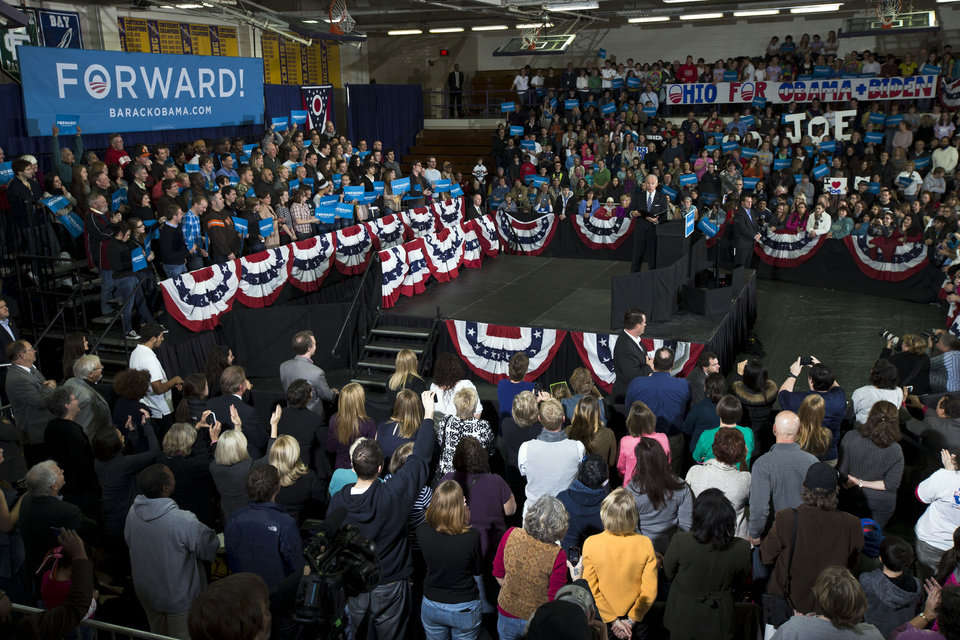 Vice President Joe Biden speaks during a campaign rally at Lakewood High School, Sunday, Nov. 4, 2012, in Lakewood, Ohio. (AP Photo/Matt Rourke)