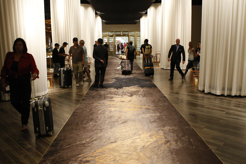 Photo - The lobby at Delano Las Vegas hotel in Las Vegas is seen during a tour Friday, Aug. 29, 2014.  The hotel scheduled its official reopening for Tuesday, Sept. 2 . after an $80 million renovation of the rooms and lobby. (AP Photo/Las Vegas Review-Journal, Erik Verduzco) LOCAL TELEVISION OUT; LOCAL INTERNET OUT; LAS VEGAS SUN OUT