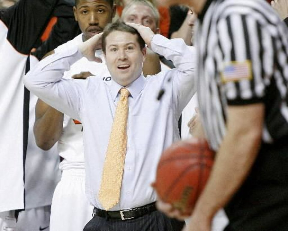 OSU coach  Travis  Ford reacts during the final seconds of the Big 12 college basketball game between Oklahoma State and Missouri at Gallagher-Iba Arena in Stillwater, Okla., Wednesday, Jan. 21, 2009. PHOTO BY BRYAN TERRY