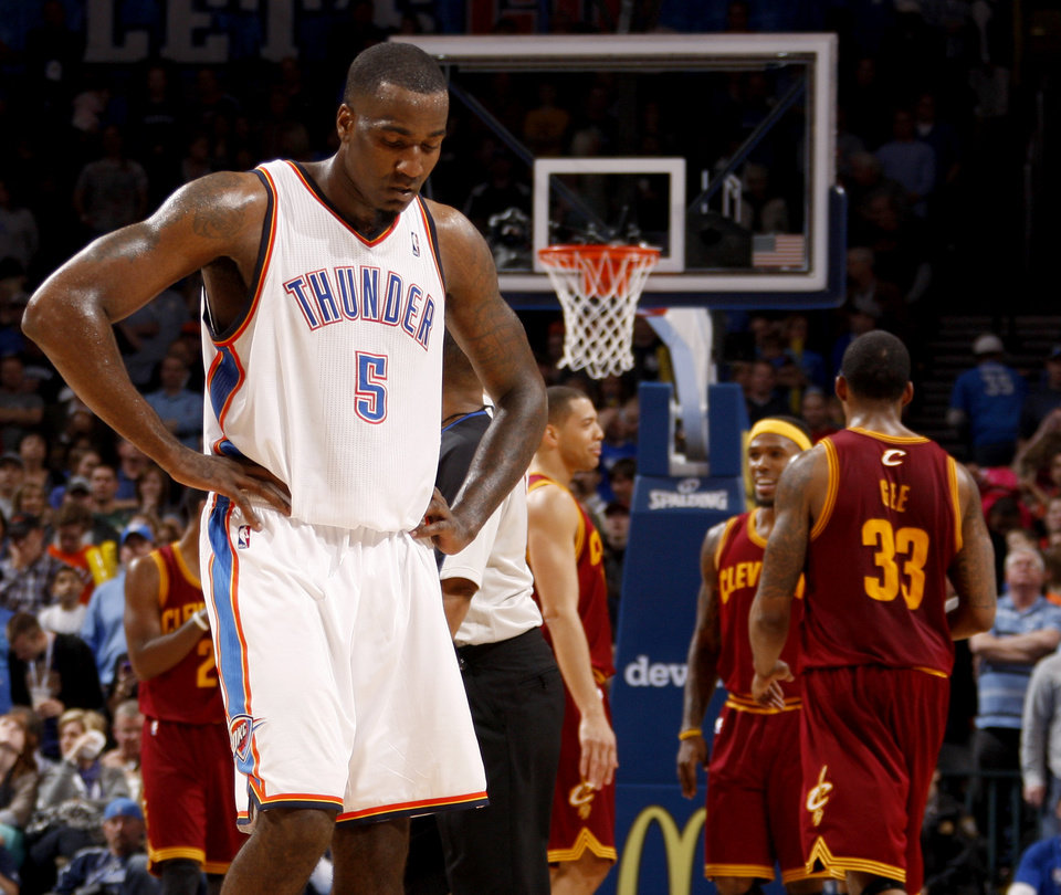 Photo - Oklahoma City's Kendrick Perkins (5) walks back toward the bench in the final minutes of the NBA basketball game between the Oklahoma City Thunder and the Cleveland Cavaliers at Chesapeake Energy Arena in Oklahoma City, Friday, March 9, 2012. Photo by Bryan Terry, The Oklahoman