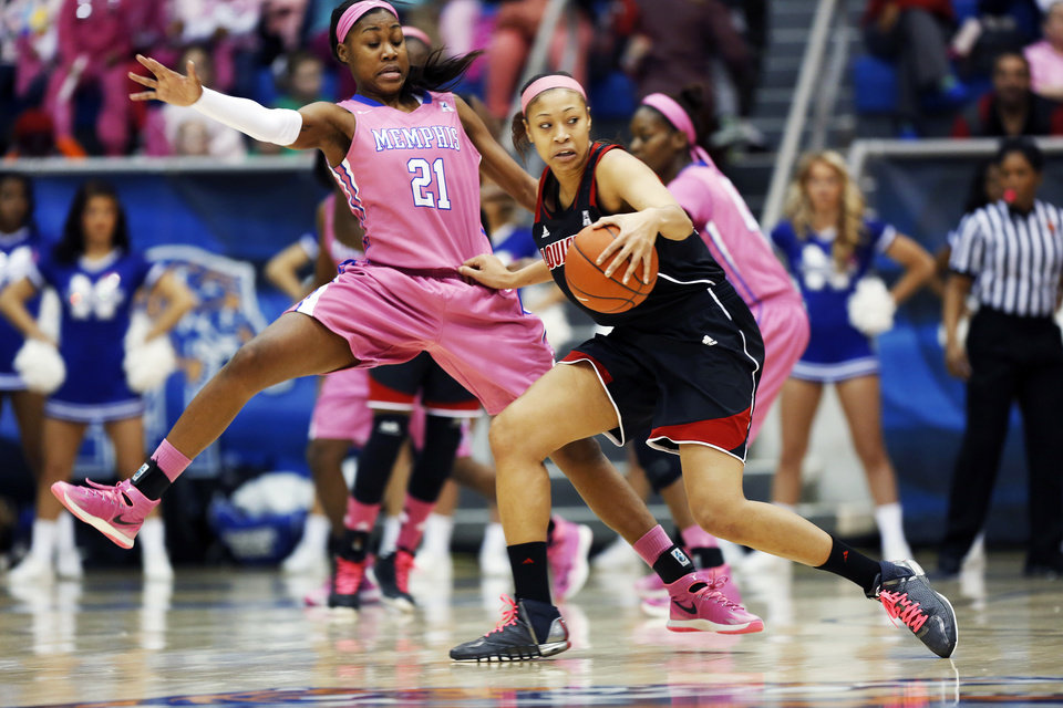 Photo - Memphis forward Asianna Fuqua-Bey (21) gets pushed by Louisville guard Antonita Slaughter in the first half of an NCAA college basketball game Sunday, Feb. 16, 2014, in Memphis, Tenn. (AP Photo/Yalonda M. James)