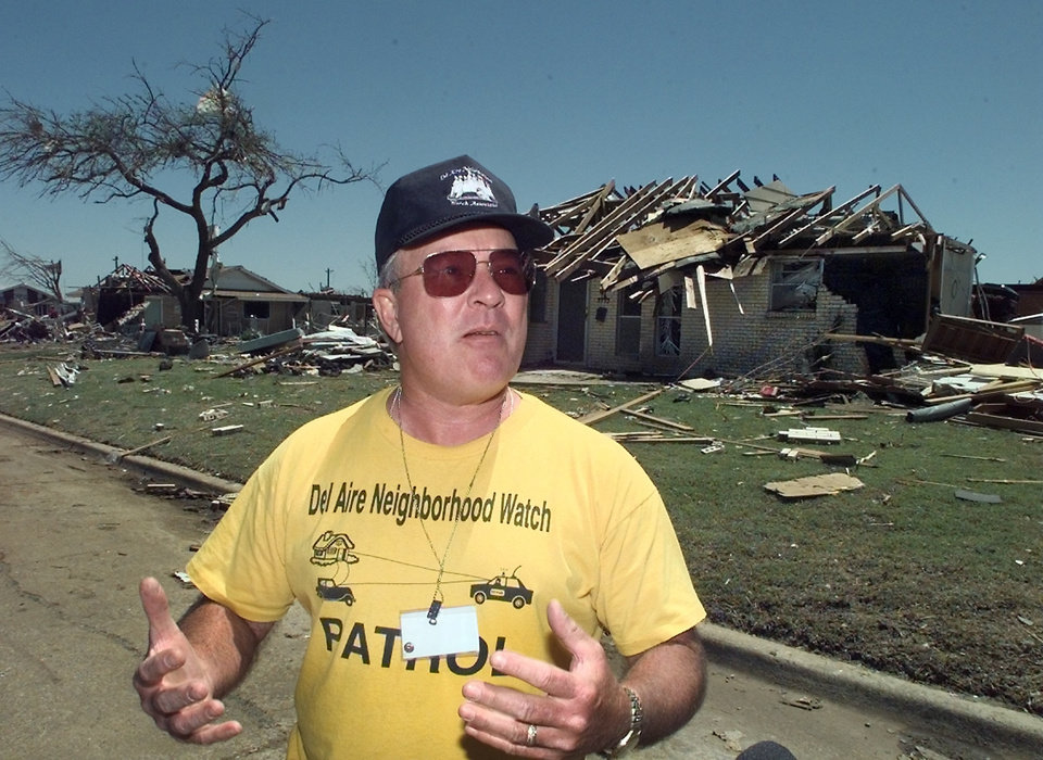 John Hirsch, Del Aire Neighborhood Watch, volunteering in the tornado damage relief efforts.