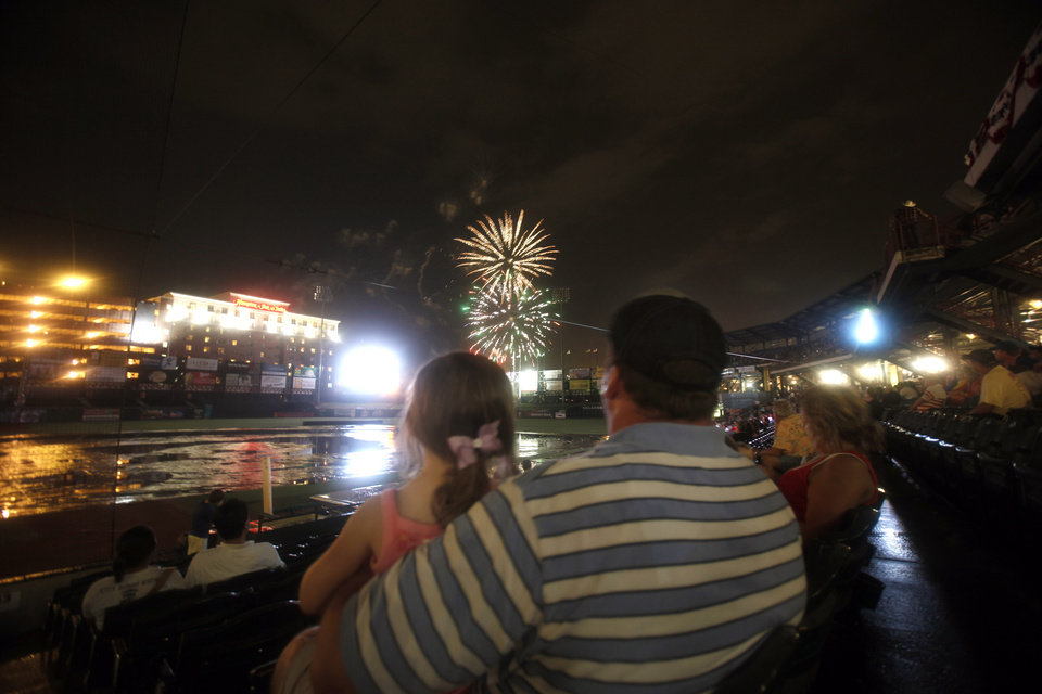 Fans watch fireworks at the At&T Bricktown Ballpark, Saturday July 4, 2009, in Oklahoma City. Photo by Sarah Phipps, The Oklahoman