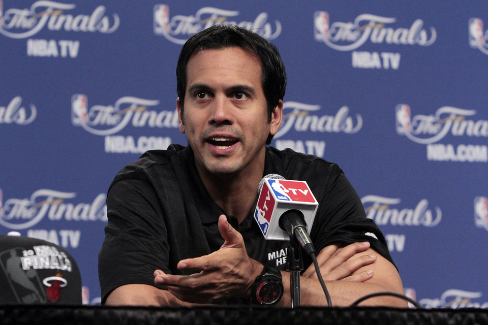 Miami Heat head coach Erik Spoelstra talks with the media before practice in preparation for game two of the NBA basketball finals at the Chesapeake Arena on Wednesday, June 13, 2012 in Oklahoma City, Okla. Photo by Steve Sisney, The Oklahoman