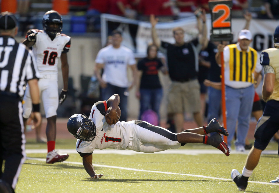 Westmoore's Kieron Hardrick scores a touchdown against Southmoore during their high school football game in Moore, Okla., Friday, Sept. 13, 2013. Photo by Bryan Terry, The Oklahoman