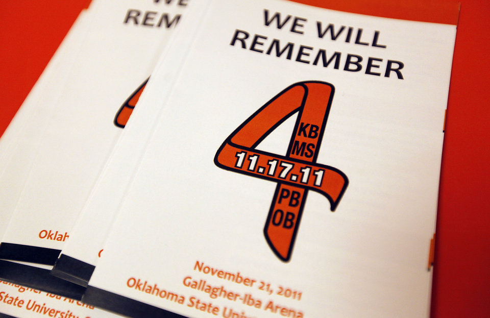 Programs for the memorial service of Oklahoma State head basketball coach Kurt Budke and assistant coach Miranda Serna at Gallagher-Iba Arena on Monday, Nov. 21, 2011 in Stillwater, Okla. The two were killed in a plane crash along with former state senator Olin Branstetter and his wife Paula while on a recruiting trip in central Arkansas last Thursday. Photo by Chris Landsberger, The Oklahoman