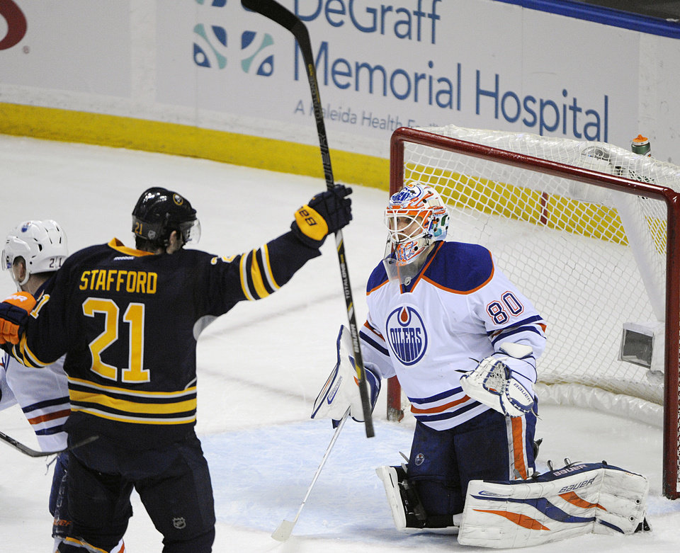 Photo - Buffalo Sabres right winger Drew Stafford (21) celebrates a goal while Edmonton Oilers goaltender Ilya Bryzgalov (80), of Russia, reacts during the first period of an NHL hockey game in Buffalo, N.Y., Monday, Feb 3, 2014. (AP Photo/Gary Wiepert)