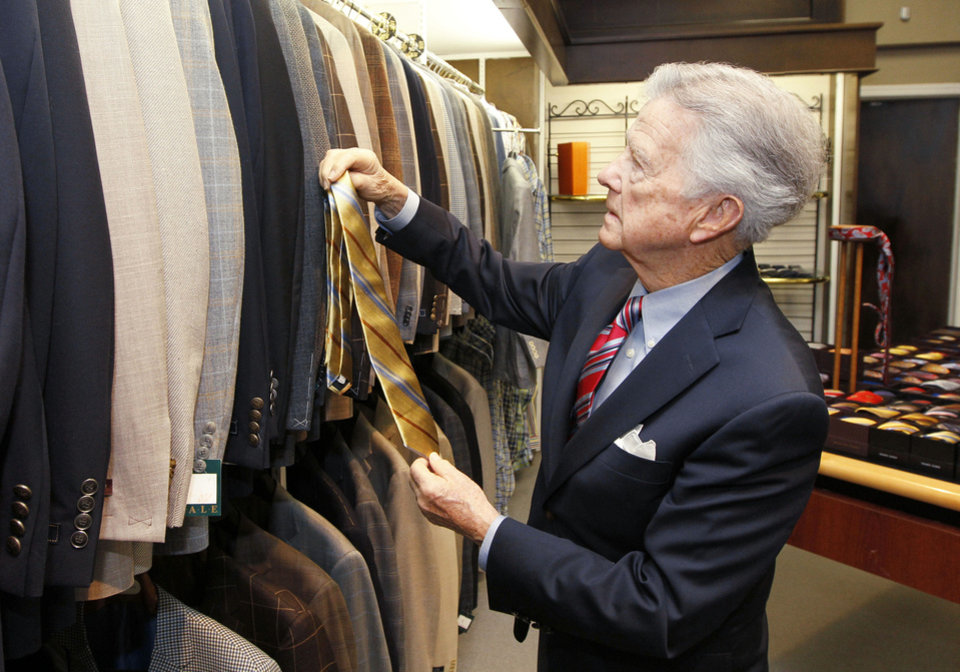 Hoot Gibson, who founded McCall's men's store in downtown Edmond 60 years ago, still works there at age 90. Photos By Paul Hellstern, The Oklahoman