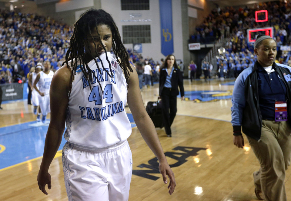 North Carolina guard Tierra Ruffin-Pratt (44) walks off the court after losing a second-round game against Delaware in the women's NCAA college basketball tournament in Newark, Del., Tuesday, March 26, 2013. Delaware won 78-69. (AP Photo/Patrick Semansky)