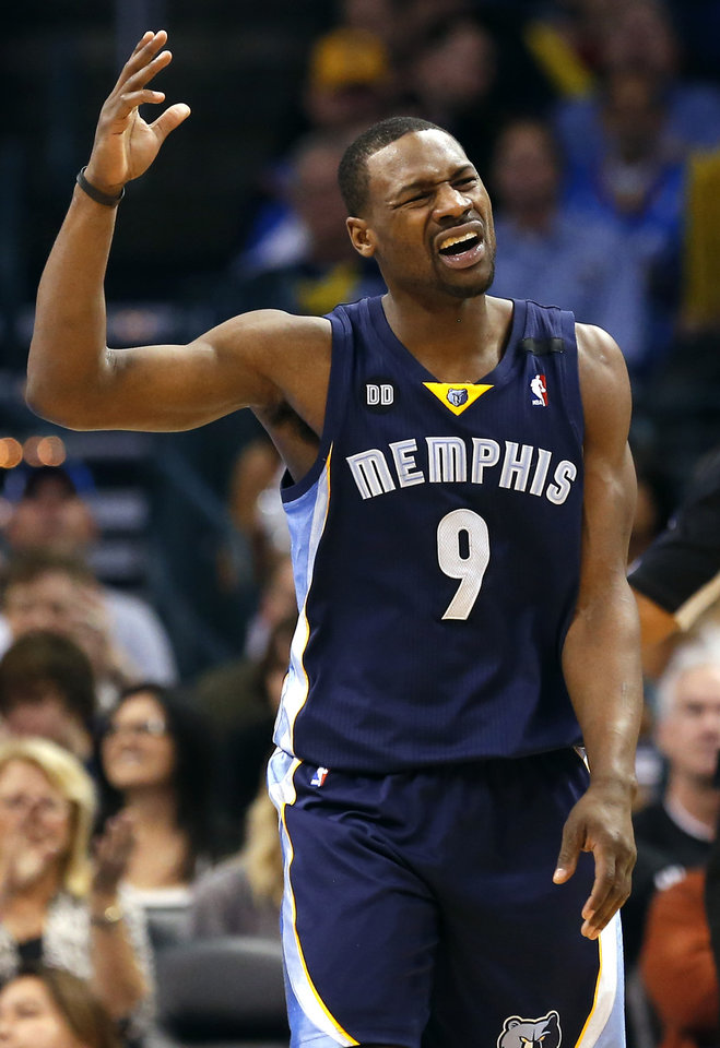 Photo - Memphis' Tony Allen (9) reacts to a play during the NBA basketball game between the Oklahoma City Thunder and the Memphis Grizzlies at the Chesapeake Energy Arena in Oklahoma City,  Thursday, Jan. 31, 2013.Photo by Sarah Phipps, The Oklahoman