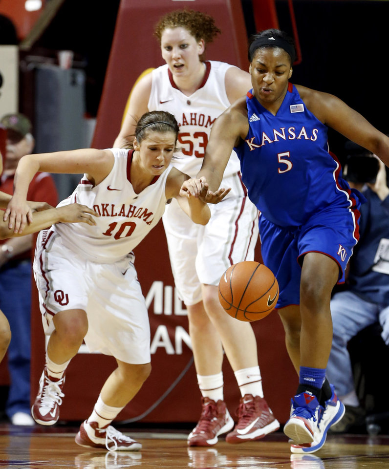 Photo - Oklahoma Sooner's Morgan Hook (10) and Kansas Jayhawks' Catherine (Bunny) Williams (5) race for a loose ball as the University of Oklahoma Sooners (OU) play the Kansas Jayhawks in NCAA, women's college basketball at The Lloyd Noble Center on Saturday, March 2, 2013  in Norman, Okla. Photo by Steve Sisney, The Oklahoman