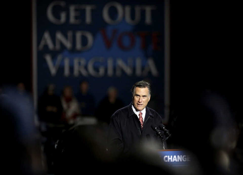 Photo -   Republican presidential candidate, former Massachusetts Gov. Mitt Romney speaks during a campaign event at Farm Bureau Live, Thursday, Nov. 1, 2012, in Virginia Beach, Va. (AP Photo/David Goldman)