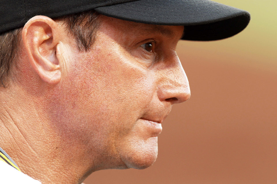 Pirates managerJohn Russell, a Norman native, is known for his stoic personality.AP photo
