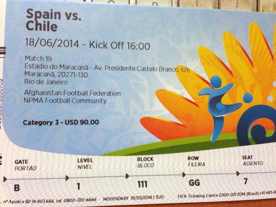 """Photo - This June 4, 2014 photo shows a $90 U.S. dollar FIFA ticket for the Spain vs. Chile World Cup game, bought by a fan on Stubhub.com, a website that connects buyers and sellers, for $775 U.S. dollars, in San Juan, Puerto Rico. Brazilian police have widened their investigation into ticket scalping at the World Cup to include """"the participation of someone from FIFA"""" as a source of tickets being resold on the street for many time their face value. (AP Photo)"""