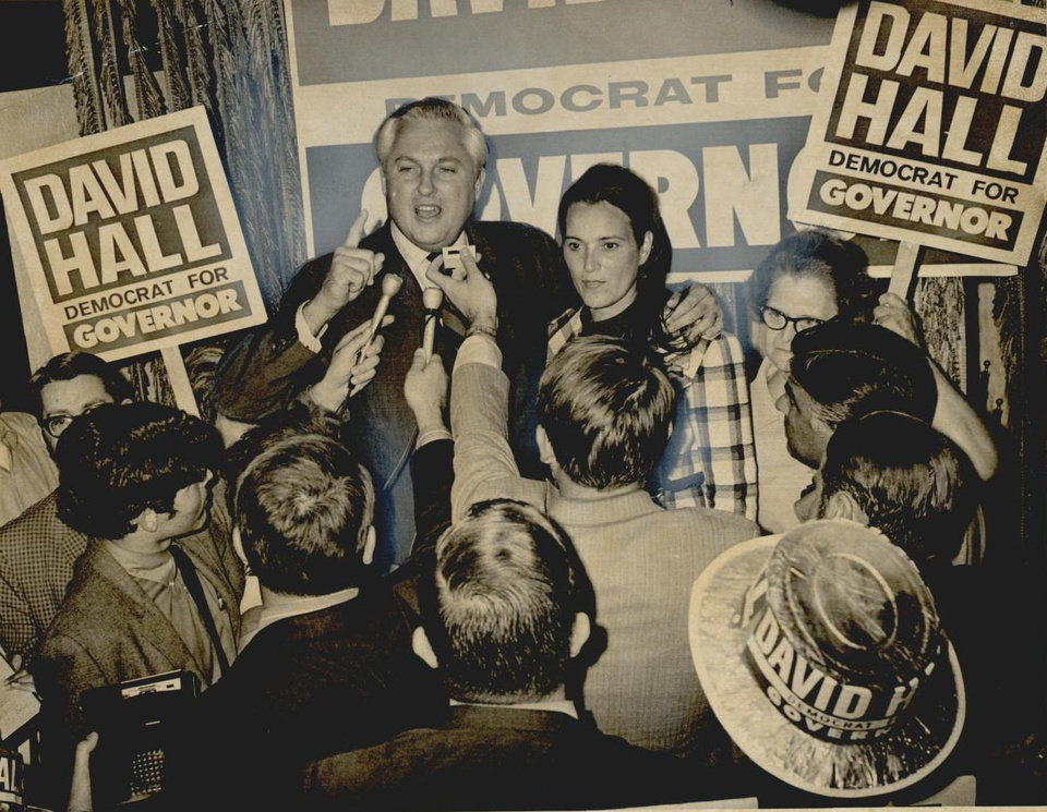 Photo - David Hall was the frontrunner in the gubernatorial race in 1970 as he met with his supporters. [Photo by Don Fisher, The Oklahoman Archives]