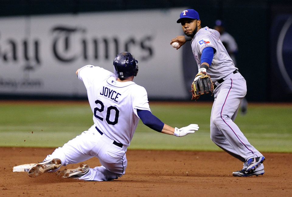 Texas Rangers shortstop Elvis Andrus, right, gets the out on Tampa Bay Rays' Matt Joyce at second base then turns the double play for the out on Rays' James Loney at first base to end the third inning of a baseball game Thursday, Sept. 19, 2013, in St. Petersburg, Fla. (AP Photo/Brian Blanco)