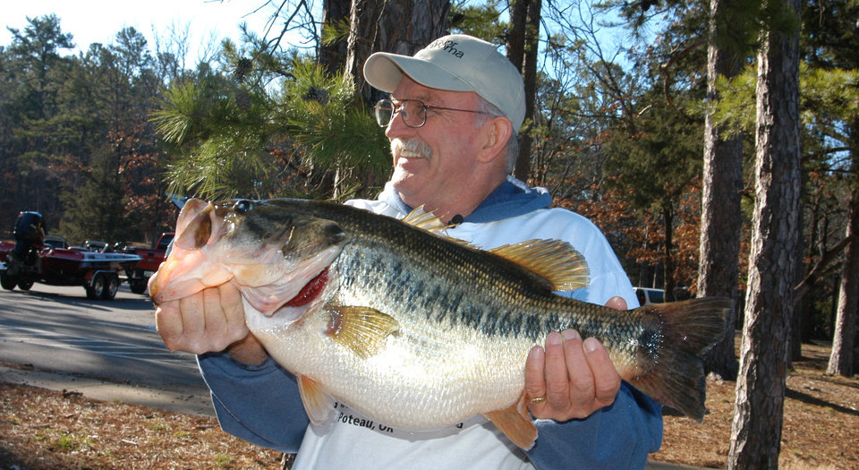 Photo -  Two years ago on March 13, Dale Miller of Panama caught the new Oklahoma state record largemouth bass from Cedar Lake. It weighed 14 pounds, 13.7 ounces.