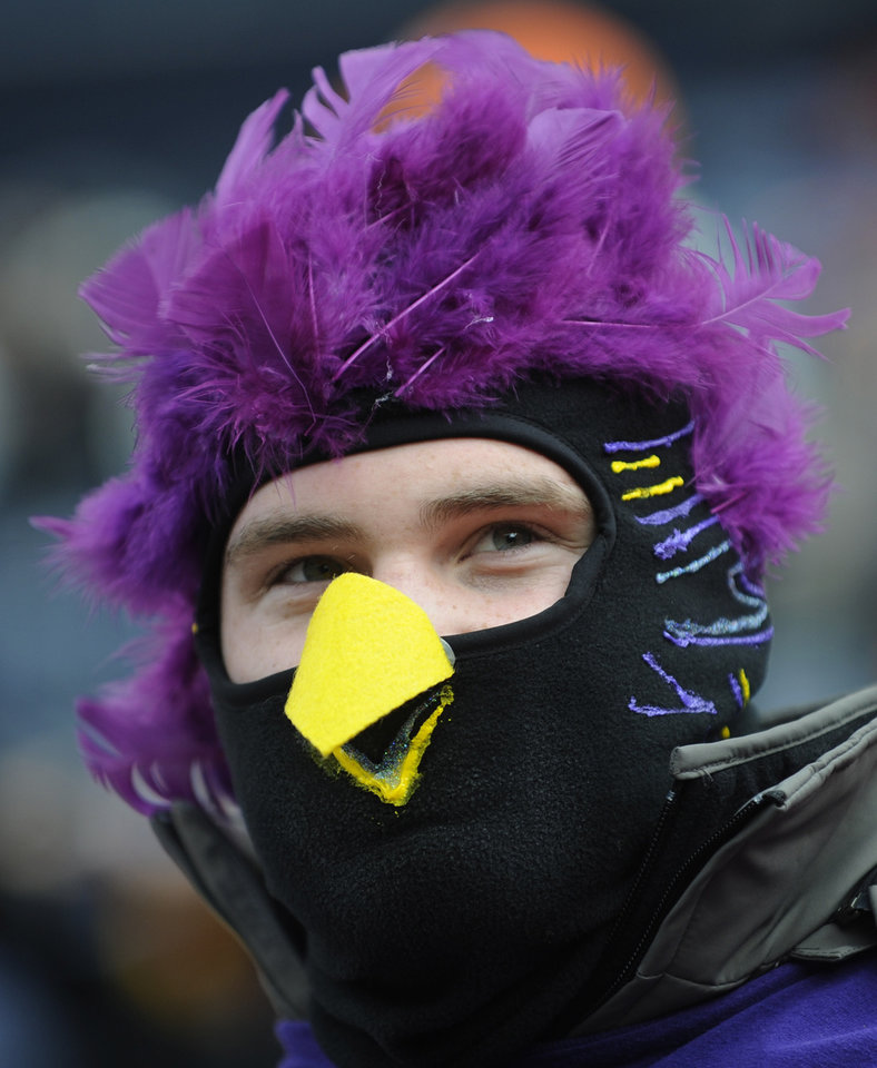 Photo - A Baltimore Ravens fan watches warm-ups before an AFC divisional playoff NFL football game against the Denver Broncos, Saturday, Jan. 12, 2013, in Denver. (AP Photo/Jack Dempsey)