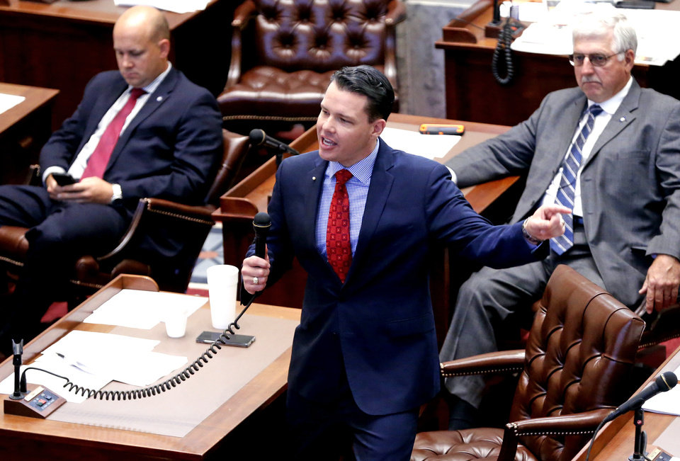 Photo -  Sen. Jason Smalley speaks before the Senate Friday, Nov. 17, 2017 in Oklahoma City. [THE OKLAHOMAN ARCHIVES]