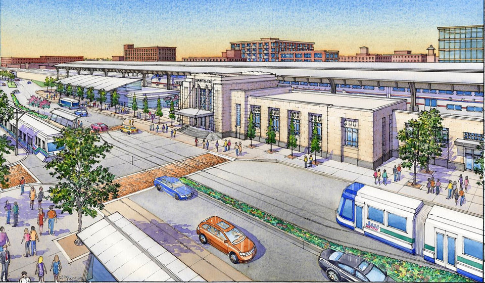 The Oklahoma City Urban Renewal Authority is preparing to seek eminent domain condemnation on the Santa Fe train depot to acquire it for use as a transit hub as part of MAPS 3. The master plan for the project is shown in this drawing. Drawing provided by the City of Oklahoma City