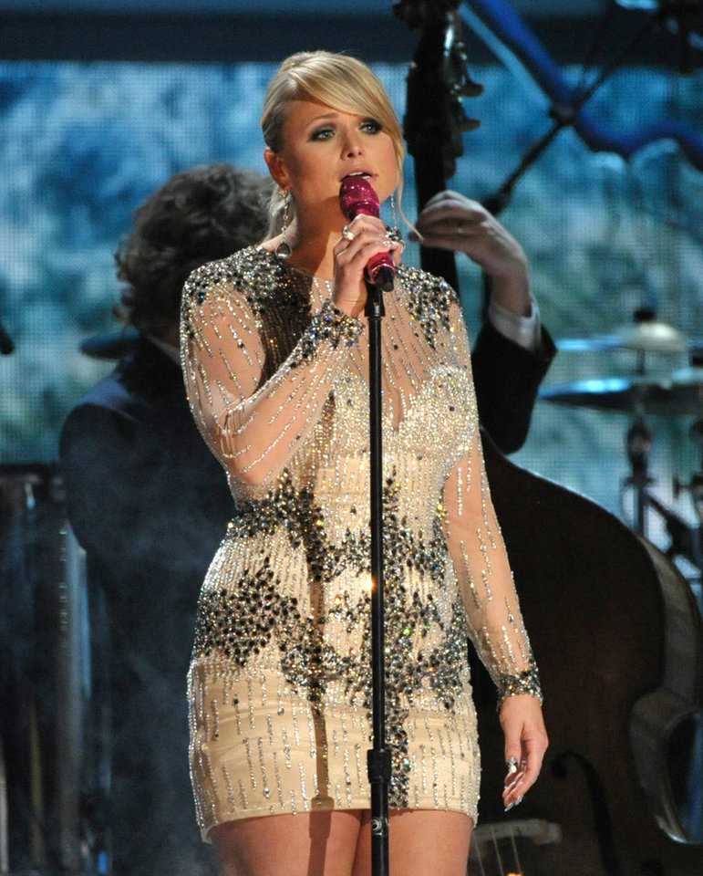 Miranda Lambert performs at the 55th annual Grammy Awards on Sunday, Feb. 10, 2013, in Los Angeles. (Photo by John Shearer/Invision/AP) ORG XMIT: CAAR158