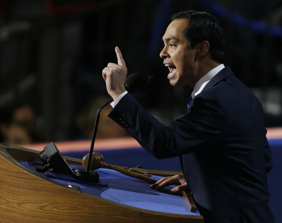 Photo - San Antonio Mayor Julian Castro speaks to delegates at the Democratic National Convention in Charlotte, N.C., on Tuesday, Sept. 4, 2012. (AP Photo/Lynne Sladky)  ORG XMIT: DNC515