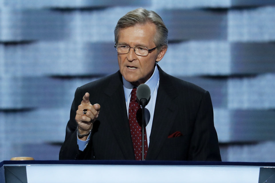 Photo - Rear Admiral John Hutson (Ret.), speaks during the third day of the Democratic National Convention in Philadelphia , Wednesday, July 27, 2016. (AP Photo/J. Scott Applewhite)