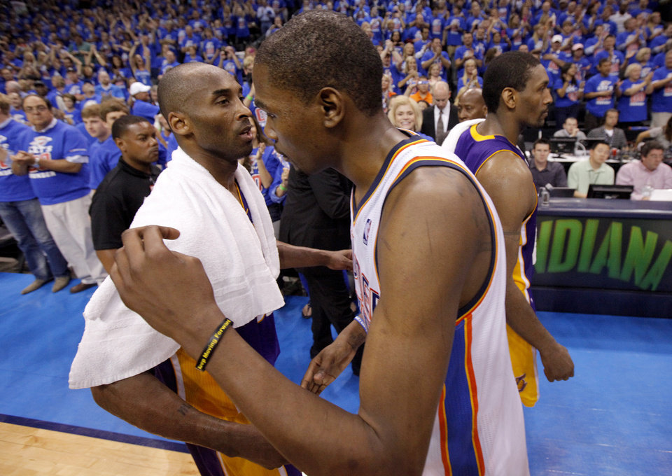 Photo - Los Angeles' Kobe Bryant (24) and Oklahoma City's Kevin Durant (35) talk after Game 5 in the second round of the NBA playoffs between the Oklahoma City Thunder and the L.A. Lakers at Chesapeake Energy Arena in Oklahoma City, Monday, May 21, 2012. Oklahoma City won 106-90.  Photo by Bryan Terry, The Oklahoman