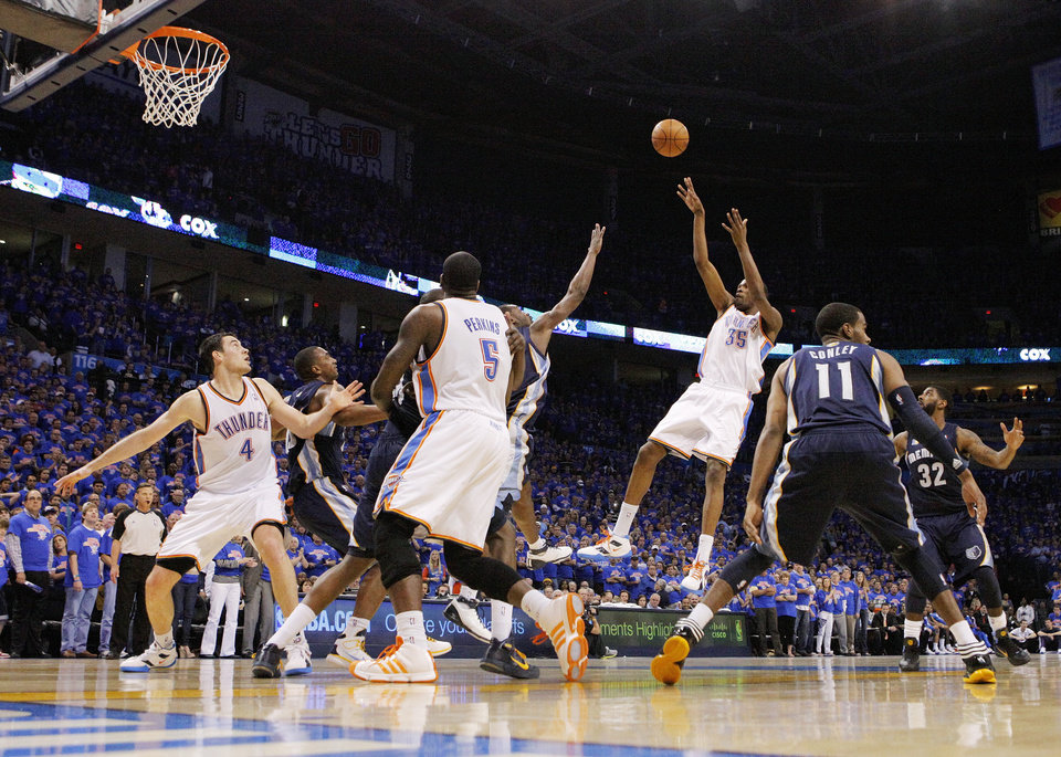 Oklahoma City's Kevin Durant (35) takes a shot in the first half during game 7 of the NBA basketball Western Conference semifinals between the Memphis Grizzlies and the Oklahoma City Thunder at the OKC Arena in Oklahoma City, Sunday, May 15, 2011. Photo by Nate Billings, The Oklahoman