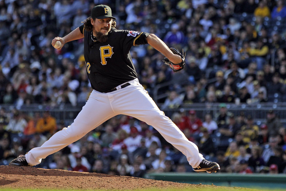 FILE - In this Sept. 30, 2012, file photo, Pittsburgh Pirates closer Joel Hanrahan delivers during the ninth inning of a baseball game against the Cincinnati Reds in Pittsburgh. The Red Sox have acquired the All-Star closer from the Pirates in a six-player deal trade on Wednesday, Dec. 26, 2012. The Red Sox also received infielder Brock Holt, but gave up right-handers Mark Melancon and Stolmy Pimentel, infielder Ivan DeJesus Jr. and first baseman-outfielder Jerry Sands. (AP Photo/Gene J. Puskar, File)