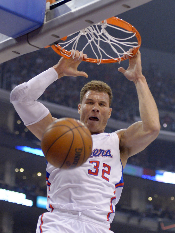 Los Angeles Clippers forward Blake Griffin dunks during the first half of their NBA basketball game against the Los Angeles Lakers, Friday, Jan. 4, 2013, in Los Angeles.  (AP Photo/Mark J. Terrill)