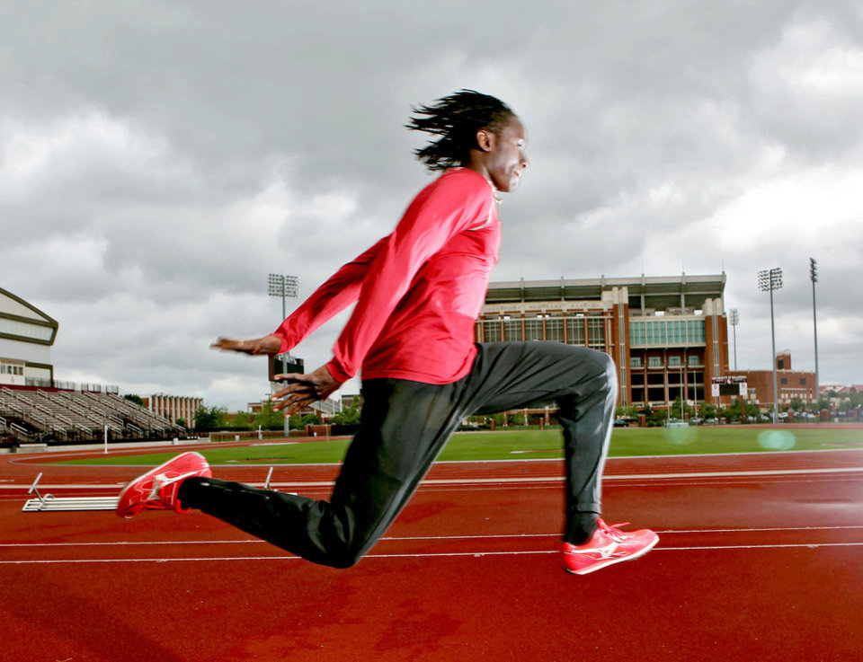 At only age 17, Oklahoma's Will Claye, whose parents hail from Sierra Leone, is the top collegiate triple jumper in the nation.  Photo by John Clanton, The Oklahoman