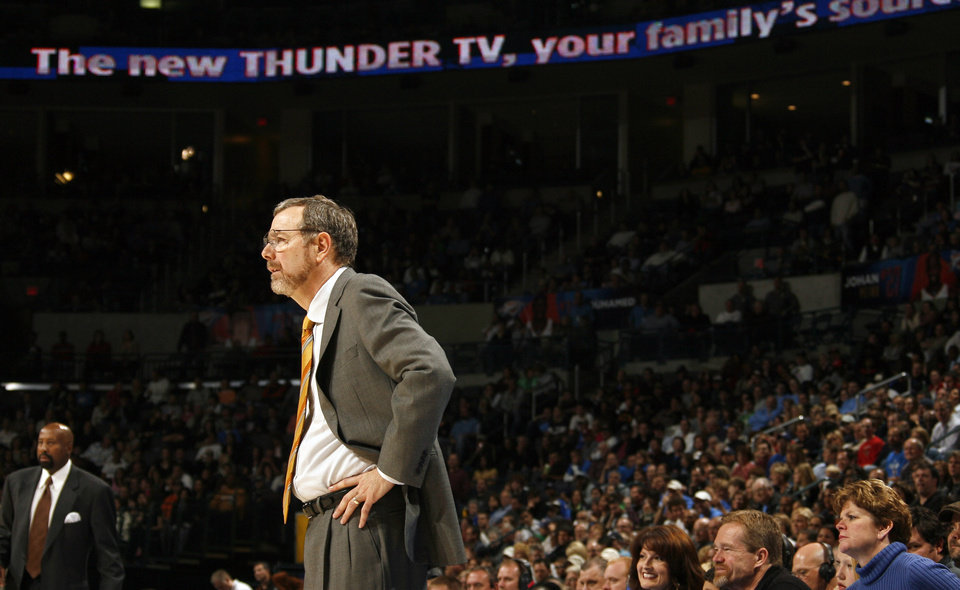 Photo - Oklahoma City head coach P.J. Carlesimo watches game play during the second half of the NBA game between Oklahoma City Thunder and the Atlanta Hawks, Sunday, Nov. 9, 2008, at  the Ford Center, Oklahoma City. PHOTO BY SARAH PHIPPS, THE OKLAHOMAN