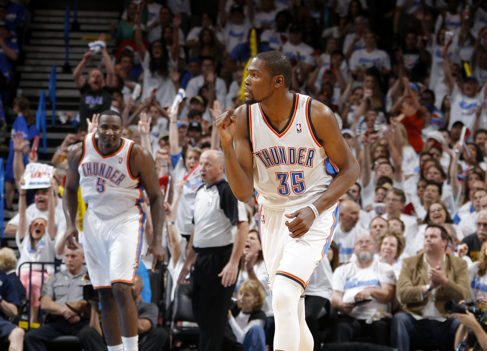 Photo - Oklahoma City's Kevin Durant (35) celebrates after a basket during Game 2 of the Western Conference semifinals in the NBA playoffs between the Oklahoma City Thunder and the Los Angeles Clippers at Chesapeake Energy Arena in Oklahoma City, Wednesday, May 7, 2014. Photo by Bryan Terry, The Oklahoman